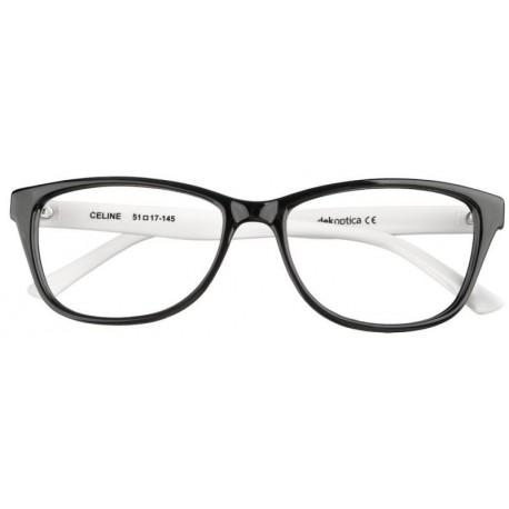 oprawki okulary korekcyjne Celine Dekoptica czarne z białymi zausznikami
