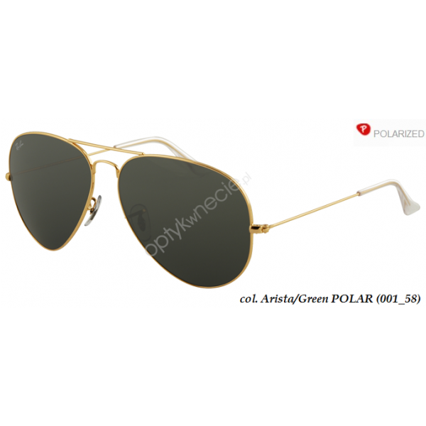 Ray-Ban Aviator rb 3025 col. 001/58 rozm. 58/14 - okulary przeciwsłoneczne z POLARYZACJĄ