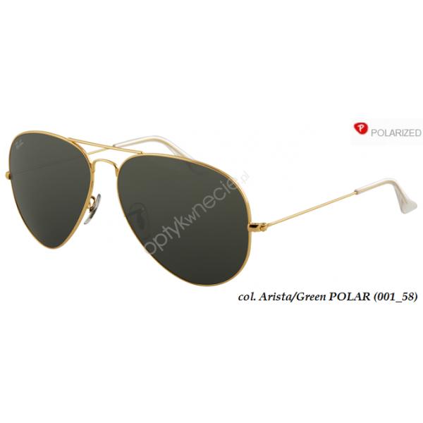 Ray-Ban Aviator rb 3025 col. 001/58 rozm. 62/14 - okulary przeciwsłoneczne z POLARYZACJĄ