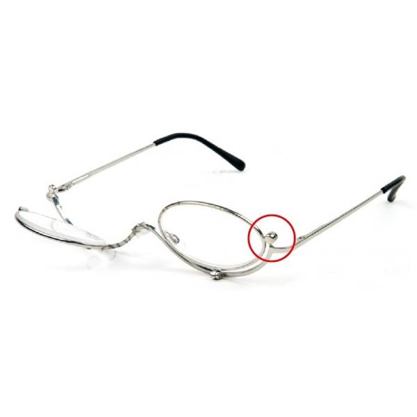 Okulary do makijażu - metalowe, srebrne, 2 szkła