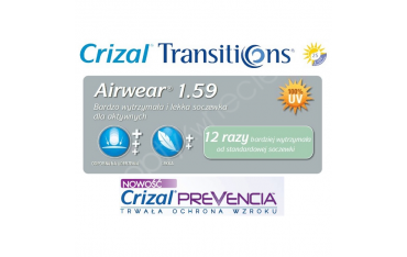 Fotochromy z poliwęglanu z filtrem Blue - AIRWEAR 1,59 Transitions VII Crizal Prevencia