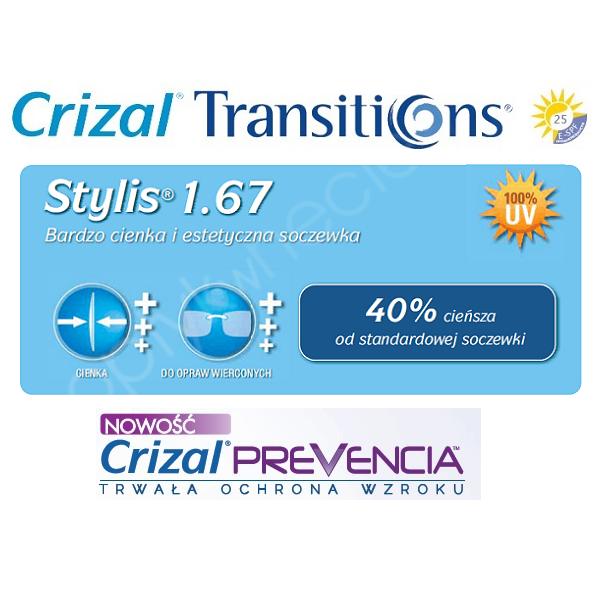 Cienkie i płaskie fotochromy z filtrem Blue - As Stylis 1,67 Transitions VII Crizal Prevencia