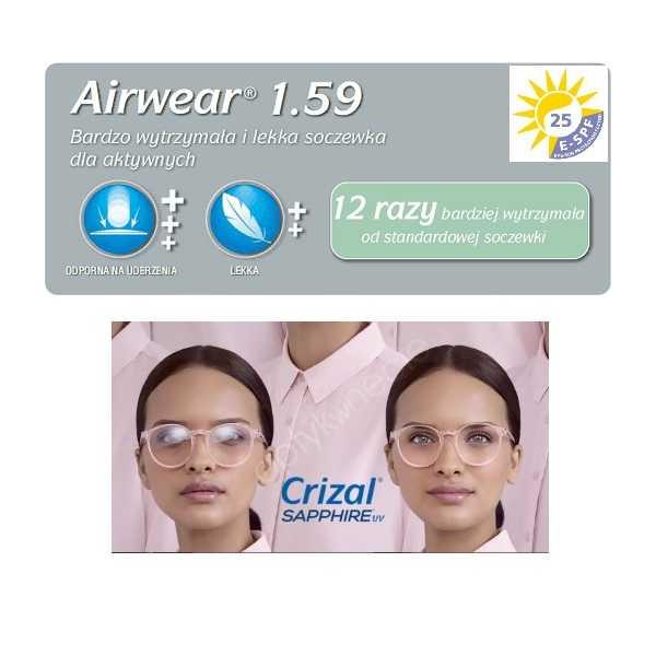 poliwęglanowe szkła z antyrefleksem Airwear Crizal Sapphire UV