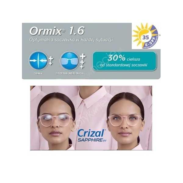 Ormix Crizal Sapphire UV cienkie szkła z antyrefleksem