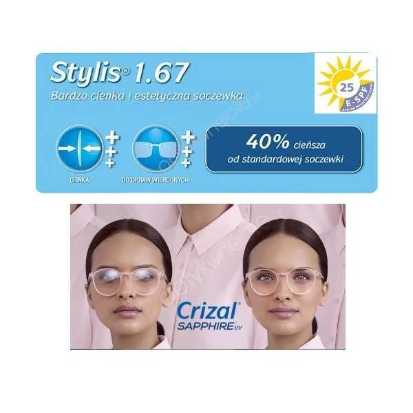 Stylis Crizal Sapphire UV bardzo cienkie szkła z antyrefleksem