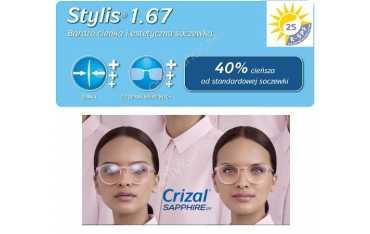As Stylis Crizal Sapphire UV bardzo cienkie szkła z antyrefleksem