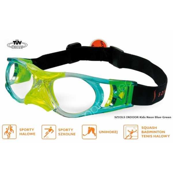 okulary sportowe ochronne Sziols Indoor Kids kolor Neon Blue Green
