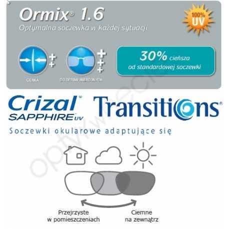 Cienkie fotochromowe szkła plastikowe Ormix 1.6 Transitions VII Crizal Sapphire UV