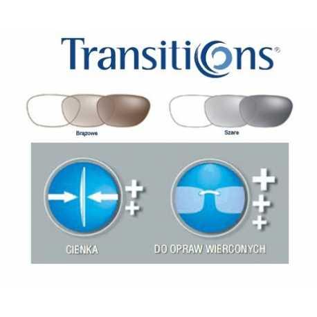 cienkie szkła fotochromowe O'Clever 1.6 Transitions Sig. z antyrefleksem SET