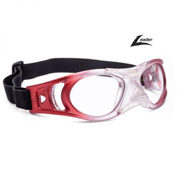 okulary sportowe ochronne korekcyjne Leader Bounce Junior transparent red czerwone