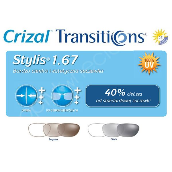 Cienkie i płaskie fotochromy As Stylis 1,67 Transitions Signature VII Crizal Sapphire UV