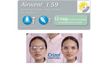 Fotochromy z poliwęglanu Airwear Transitions Gen8 Crizal Sapphire UV