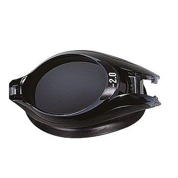 oczko w kolorze czarnym-dymione w okularach pływackich korekcyjnych deluxe
